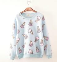 2014 New Autumn and winter new style  women cotton hoodies Lovely rabbit fleece warm women's sweatshirts 3color 812E