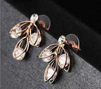 Brand new Swiss zircon leaf flower design stud earrings fashion lady statement jewelery gift Korean style