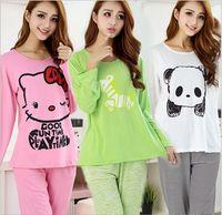 two-piece spring autumn women pajamas sets cotton cartoon print sleepwear nightgown