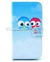 Sky Blue Two Little Cute Birds Magnetic Flip PU Leather Wallet Card Stand Case Cover For Samsung Galaxy S4 IV I9500 I9505