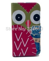 Red Cartoon Owl Magnetic Flip PU Leather Wallet Card Holder Stand Case Cover For Samsung Galaxy S4 IV I9500 I9505 Free Shipping