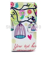 Cute Birds Birdcage Magnetic Flip PU Leather Wallet Card Holder Stand Case Cover For Samsung Galaxy S4 I9500 I9505 Free Shipping