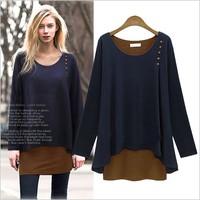 free shipping The new 2014 Autumn women's dress, round neck long-sleeved dress stitching, large size dress
