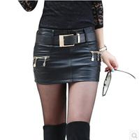 2014 New In Fashion Autumu and Winter Women PU Short Skirts All Match Tight Hip Slim Low Waist Female Mini Skirts With Belt