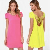 Hot sale 2014 Summer Autumn Women Dresses Plus Size Back Cross Straps Dress Short Sleeve Casual Chiffon Dress Vestidos de menina