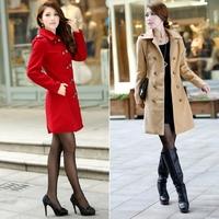 2014 Casual Women Lapel Shaped Long Sleeve Double Bleasted Outwear Jacket Dust Winter Coat #64995