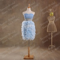 Short  Feather Skirt Prom Dresses 2014 Fall Sweetheart Ruched Sequins Beaded Sheer Waist Homecoming Dresses Party Gown 7A975