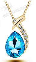 18K Gold Plated Drop Shape Blue Austrian Crystal Pendant Jewelry Necklace FREE SHIPPING! 7 Colors