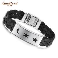 [Landlord] New Arrival wholesale men bracelet 316L Stainless Steel Bracelet Moon and Sun with Star leather Bracelet PH513