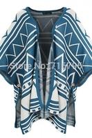 Women Long Sleeves Open-Front Zigzag Pattern Batwing Knit Cardigan Free Shipping