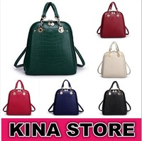 6 Colors Free shipping Japan and Korean Style Women Solid Embossed Metal chain Genuine Leather Backpacks