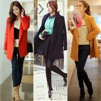 2014 Korea Loose Oversized Lapel Slim Long Warm Winter Wool Outwear Jacket Dust Coat #65002