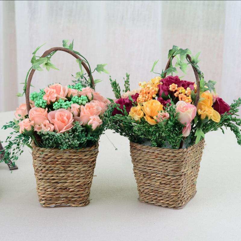 Corners cesta subiu terno de decoração para decoração flores artificiais de seda flor artificial flores secas de flores de arrangementW(China (Mainland))