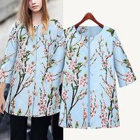 cardigans new fashion Blue print flowers cutton jackets women hot sale in Winter Autumn XL jaqueta feminina coats kimono