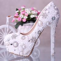 Handmade Luxury rhinestone wedding shoes crystal bridal shoes wedding platform shoes high heels beading shoes