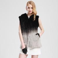 Gradient Color Mink Fur Long Design Hood Vest Fashion Knitted Mink Fur Vest Winter Fur Overcoat Factory Dropshipping