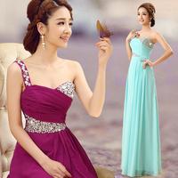 New Styles One Shoulder Formal Dress Evening Dress Sweetheart Long 2014 Design Slim The Bride Banquet FL6030