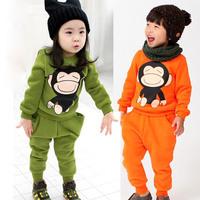 New fashion spring autumn monkey boys girls clothing child fleece sweatshirt long trousers set kids coats pants set