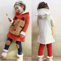 2014 baby kids clothes girls clothing Sweatshirt thickening autumn fleece winter Cute cartoon plush casual 2pcs set