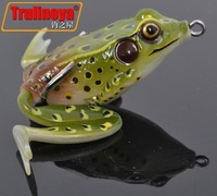 Free Shipping 4pcs/lot Trulinoya Emulational Frogs 55mm 17.5g Double Claw Hook Topwater Soft Fishing Lures Frogs