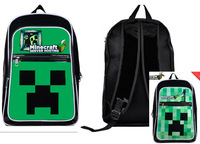 Block Coolie Schoolbag Minecraft Creeper Backpack Minecraft Mochila For Young People double shoulder bag