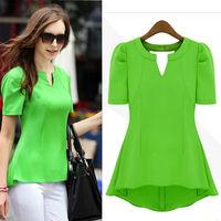 New Women Desigual  Clothing Chiffon Shirt Summer Candy Color Puff Short-sleeve Dovetail Chiffon Blouse Plus Size nz42