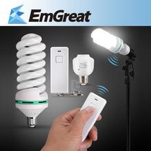 e27 220 v 5500 k 150 w photo studio bulb luce video fotografia daylight lampada + e27 supporto della lampada a distanza + wireless remote controller(China (Mainland))