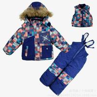 2014 New Children's Winter Clothing Set boys Ski Suit Windproof plaid pattern Fur Jackets+Bib Pants+Wool Vest boys sports suit