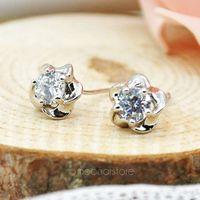 Classic Elegant Lady Crystal Plum Flower Ear Stud Earring, Rhinestone Flower Silver Plated Studs Earrings Earing Y50 MPJ228#M5