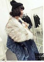 New Arrival Ladies Fashion Jeans Long Fur Coat Long Sleeves Women Thick Denim Coat Fashion Jeans Clothes M L Free shipping