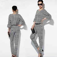2014 Autumn Women's Fashion channel style Houndstooth Twinset Casual Set Swallow Gird Elastic Waist Flare Sleeve Women's Sets