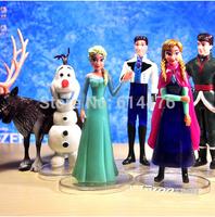 Free shipping 50sets/lot Frozen Figure Toy 10-12cm Princess Elsa and Anna Queen Action Figure Doll 6pcs/set