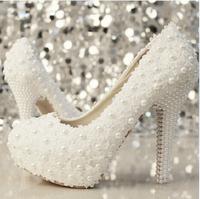Handmade Lace pearl wedding high heel shoes bridal Crystal shoes woman high-heeled pumps