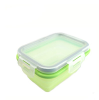 Children's food-grade students Food grade silicone rectangular scalable Microwave meal Foldable Japanese Lunch Box bento box