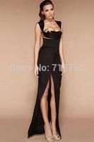2014 Sexy Women Black Long Evening Dress with Thigh High Slit