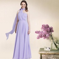 Custom made 2015 New Light  Purple Fashionable A-line one-shoulder draped floor-length chiffon Bridesmaid Dresses elegant gowns