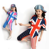 Fashion American Flag  Girls Clothing Set Kids Child Clothes 2 Colors High Quality Atacado Roupas Infantil Free Shipping