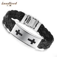 [Landlord] Brand New men bracelet 316L Stainless Steel bracelets & bangles, black & brown double cross leather Bracelet PH514