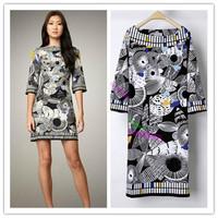 [REAL SHOT] EP Design Black Stylish Floral Print Square Collar Shift Dress E456899
