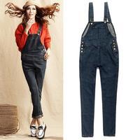 Fashion Ladies Spaghetti Strap Korean Fitness Jumpsuit Women Plus Size 2014 Autumn Washed Denim Jumpsuits 8022