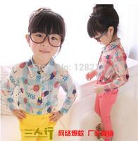 Free Shipping Children Clothing 2014 Autumn New Korean Lovely Children Girls Fashion Long-Sleeved Shirt