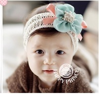 2014 New Arrival cute Baby Hair Accessories Pearl Rose Flower Headwear Stretchy Hair Band Headband 3 Colors