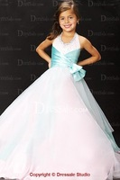 2014 Girl Dress White/Pink Flower Bow Lace Party Wedding Pageant Bridesmaid Princess Child/Kids Clothes Size 2-10