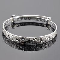 Luxury Women Elegant Rhinestone Silver Plated Bracelet, Elegant Silver Cuff Bangle Hand Chain Fashion Jewelry Y50 MPJ231 #M5
