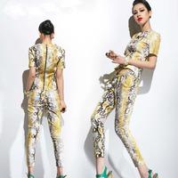 2014 Women's Fashion Serpentine Pattern Slim Short Sleeve Long Pants Personalized Clothing Set Snake Stripe Casual Suit Set