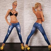New Women Sexy Tattoo Jean Look Legging Sport Leggins Punk Fitness American Apparel Jeans Woman Pants 9018