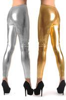 New Women Sexy Metal Gold Silver  Gothic Rock Legging Punk Fitness  Woman Pants 01
