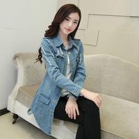 2014 spring and autumn long-sleeve denim coat medium-long cardigan female slim plus size top