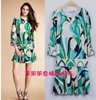 [REAL SHOT]  Free shipping new printed pure and fresh and sweet lady knitted EP dress E579021