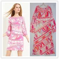 2014 spring and autumn EP Design Multi Color Geometric Dress Square Collar Knee Length Day Dress Sz S -- XXL E56899